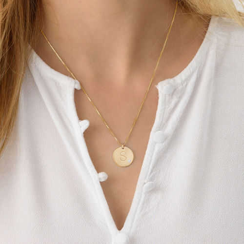 Charm Necklace with Initial Gold Plated with Diamond - 2