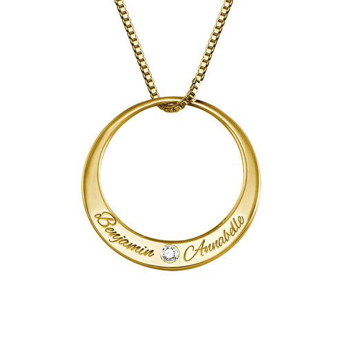 Circle Gold Plated Necklace with Diamond