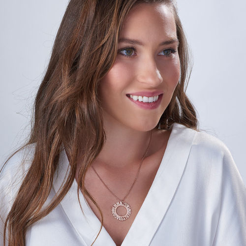 Circle Name Necklace in Rose Gold Plating with Diamond Effect - 1