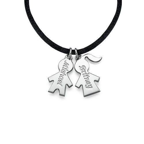 Cord Necklace with Engraved Children Charms