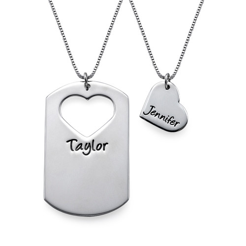 Couples Dog Tag Necklace With Cut Out Heart - 1