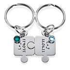 Couple's Puzzle Keyring Set with Crystal