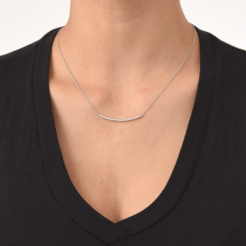 Curved Bar Necklace with Cubic Zirconia - 1