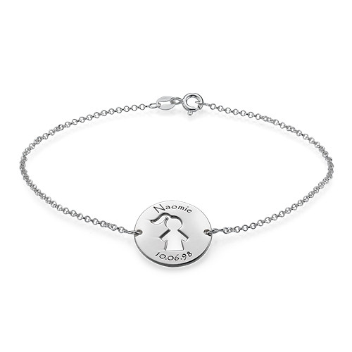Cut Out Mum Bracelet in Silver - 1