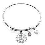 Cut Out Monogram Bangle with Charms