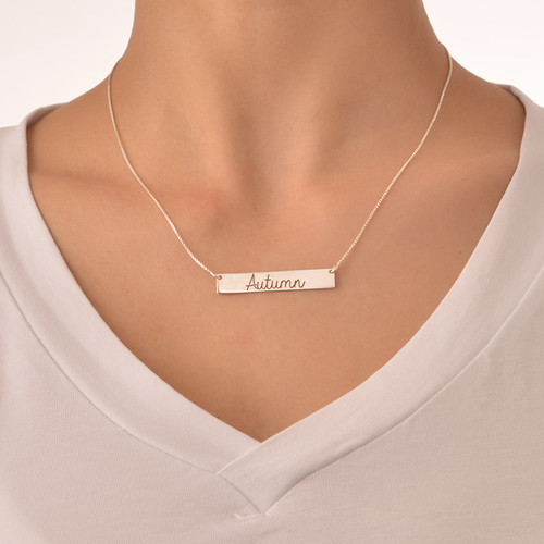 Cut Out Name Bar Necklace - 1