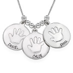 Disc Necklace for Mothers with Baby Handprint