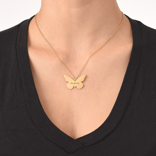 Engraved 18ct Gold Plated Pendant - Butterfly - 1
