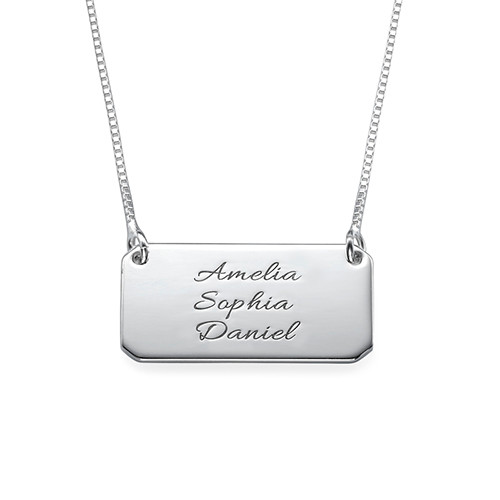 Engraved Bar Necklace in Silver with Three Names