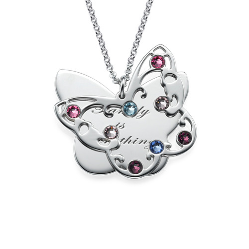 Engraved Butterfly Necklace for Mums with Birthstones - 1
