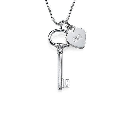 Engraved Charm Key Necklace