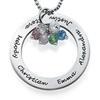 Necklace with Hanging Birthstones