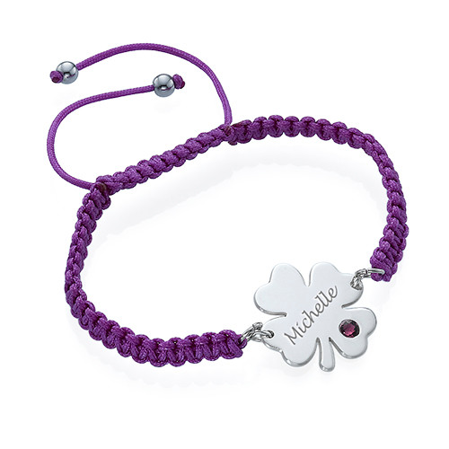 Engraved Clover Bracelet with Birthstone