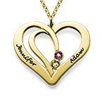 Engraved Couples Birthstone Necklace in Gold Plating