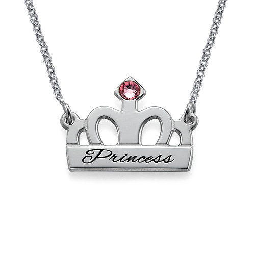 Personalised Silver Crown Necklace