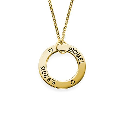 Engraved Family Circle Necklace - Gold Plated - 1