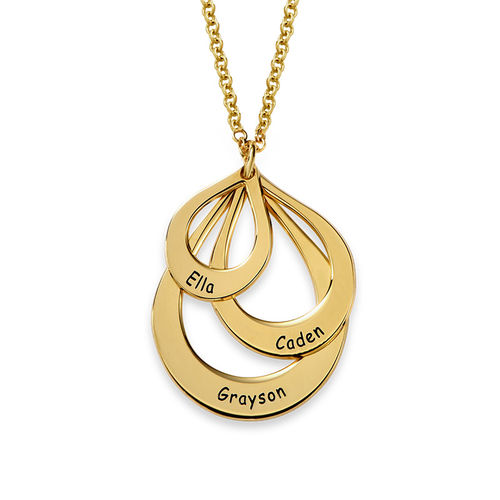 Engraved Family Necklace Drop Shaped in Gold Plating - 1