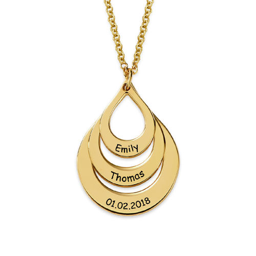 Engraved Family Necklace Drop Shaped in Gold Plating - 2