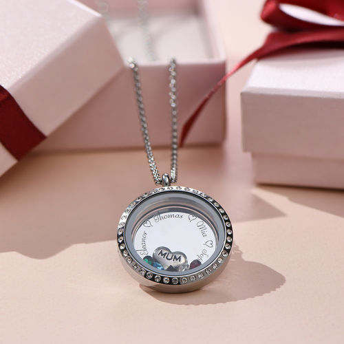 "Engraved Floating Charms Locket - ""For Mum"" - 6"