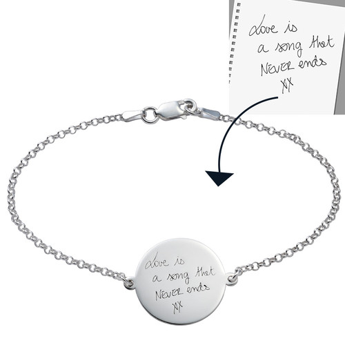 Engraved Handwriting Bracelet - Disc Shaped - 1