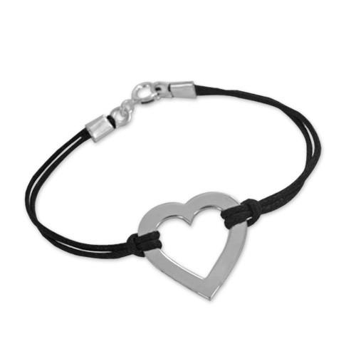 Engraved Heart Bracelet in Silver