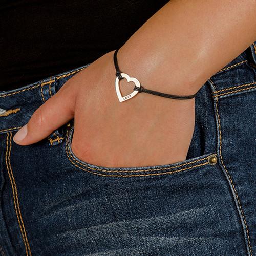 Engraved Heart Bracelet in Silver - 2