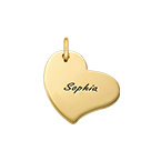 Engraved Heart Charm - Gold Plated