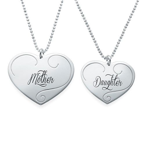 Engraved Heart Pendants - Mother Daughter Jewelry