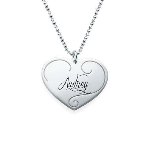 Engraved Heart Pendants - Mother Daughter Jewelry - 3