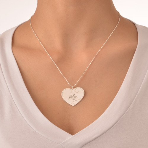 Engraved Heart Pendants - Mother Daughter Jewelry - 4