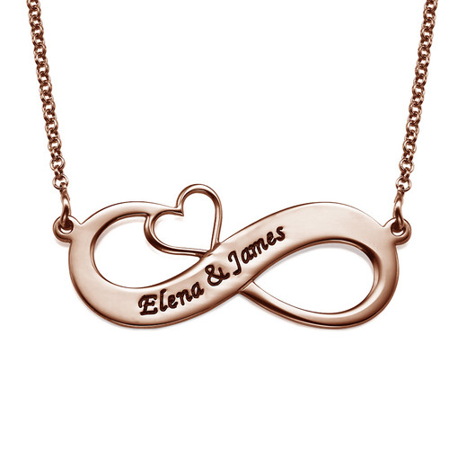 Engraved Infinity Necklace with Cut Out Heart - Rose Gold Plated