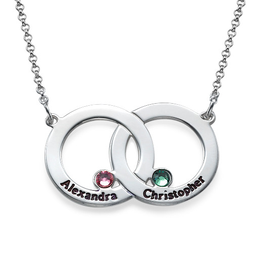 Engraved Interlocking Circle Necklace