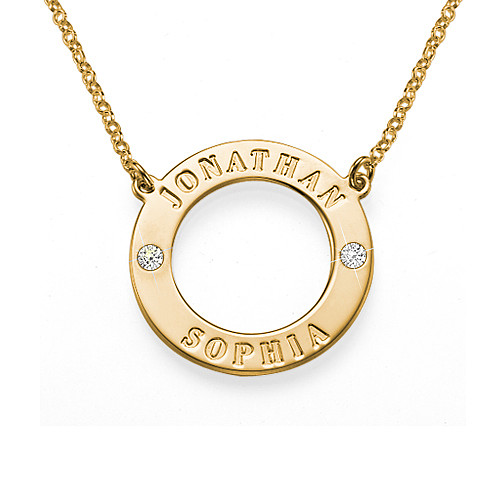 Engraved Karma Necklace with Two Crystals