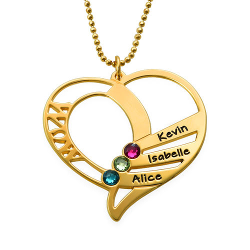 Engraved Mum Birthstone Necklace  - Gold Plated - 1