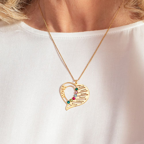 Engraved Mum Birthstone Necklace  - Gold Plated - 5
