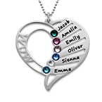 Personalised Engraved Mum Birthstone Necklace