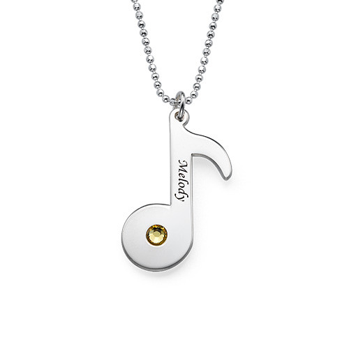 Engraved Music Note Necklace with Birthstone