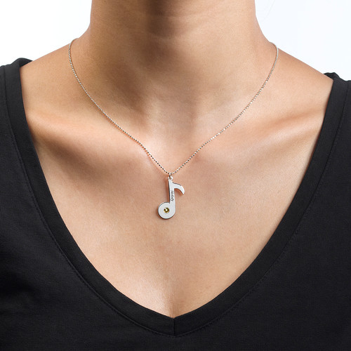 Engraved Music Note Necklace with Birthstone - 1