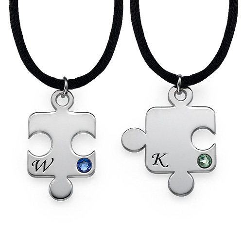 Engraved Puzzle Necklace for Couples with Birthstone - 2