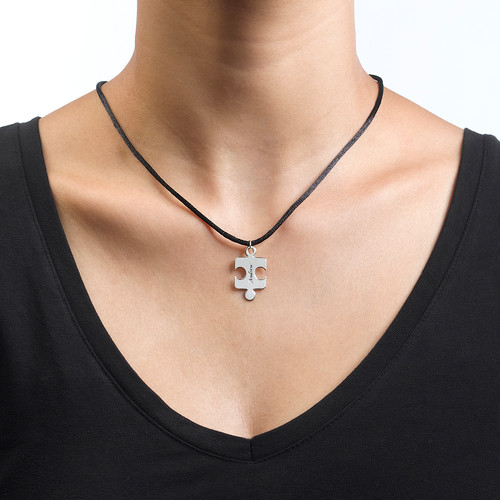 Engraved Puzzle Necklace for Couples with Birthstone - 4