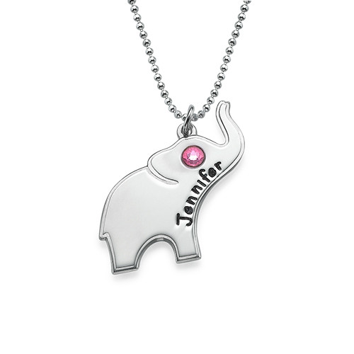 Engraved Silver Elephant Necklace