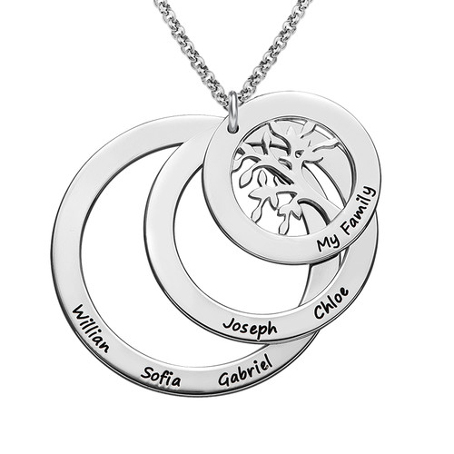 Family Circle Necklace with Hanging Family Tree - 1