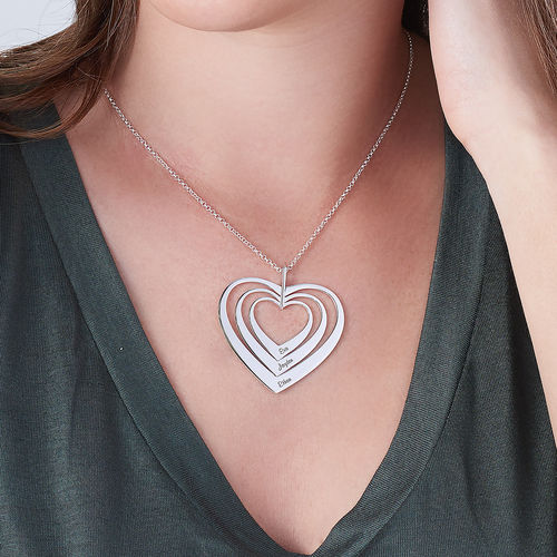 Family Hearts necklace in Silver Sterling - 3