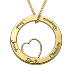 Family Love Circle Pendant Necklace with Gold Plating