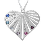 Family Necklace with birthstones in Silver Sterling