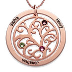 Family Tree Birthstone Necklace with Rose Gold Plating