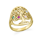 Family Tree Jewellery - Birthstone Ring with Gold Plating