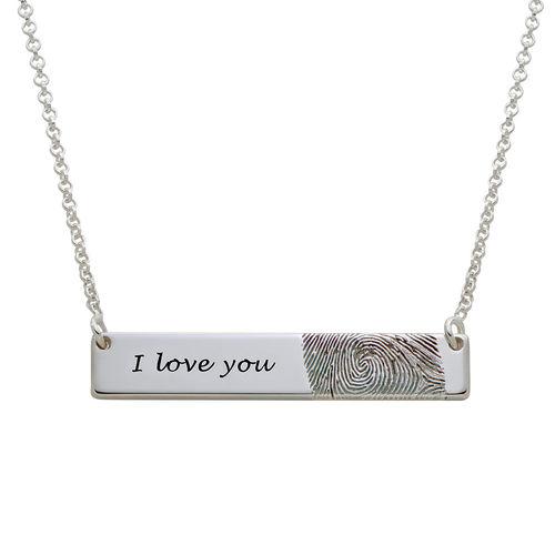 Fingerprint Bar Necklace in Sterling Silver