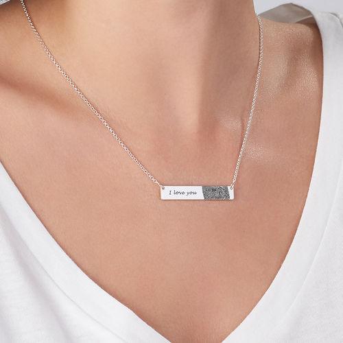 Fingerprint Bar Necklace in Sterling Silver - 2