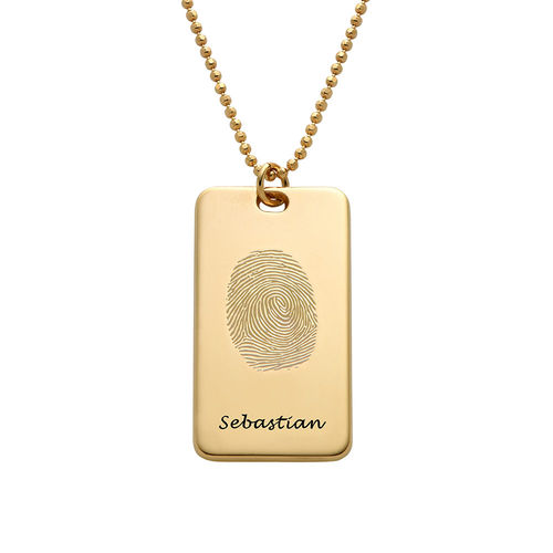 Fingerprint Dog Tag Necklace with 18ct Gold plating